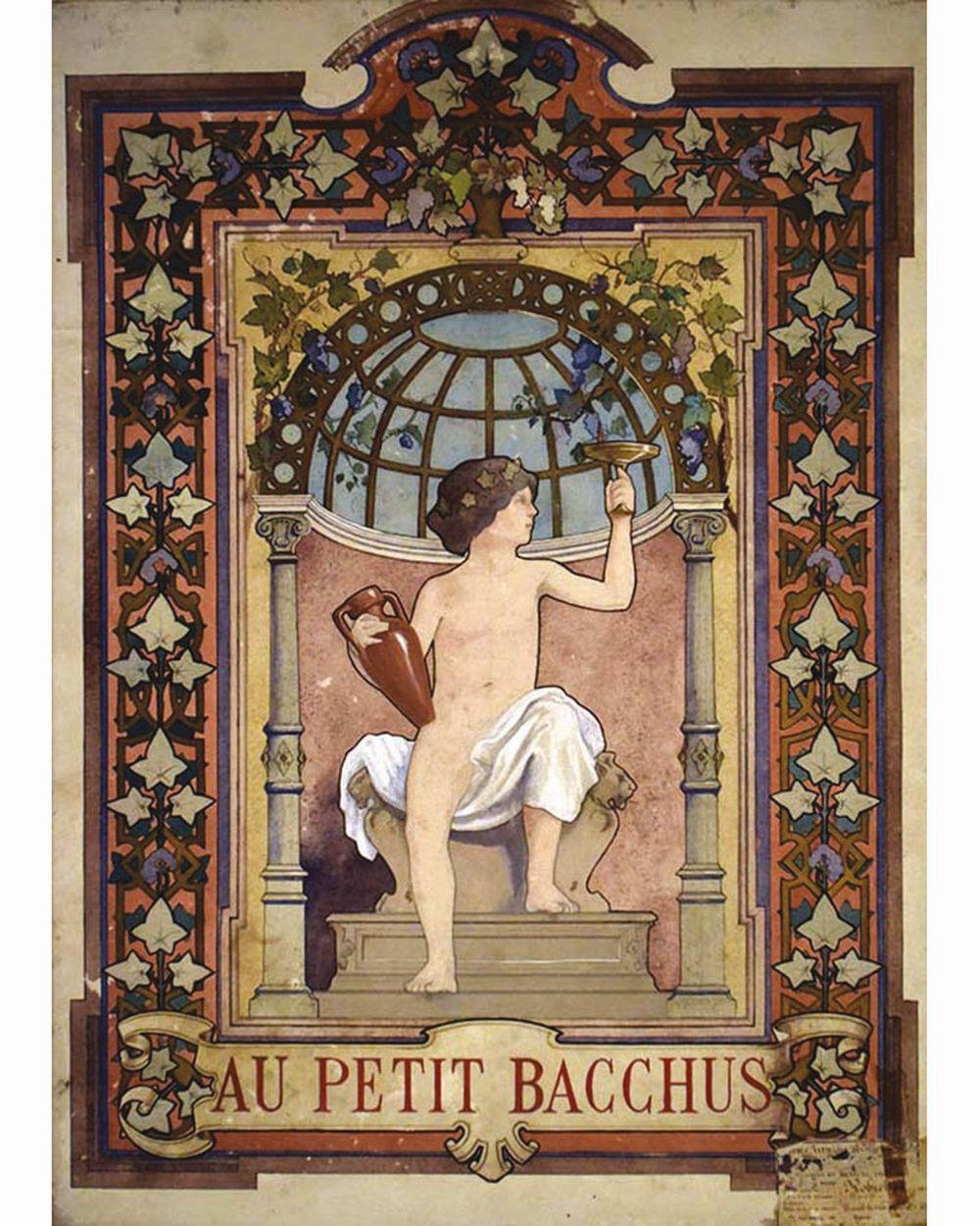 Au Petit Bacchus Gouache     vers 1900