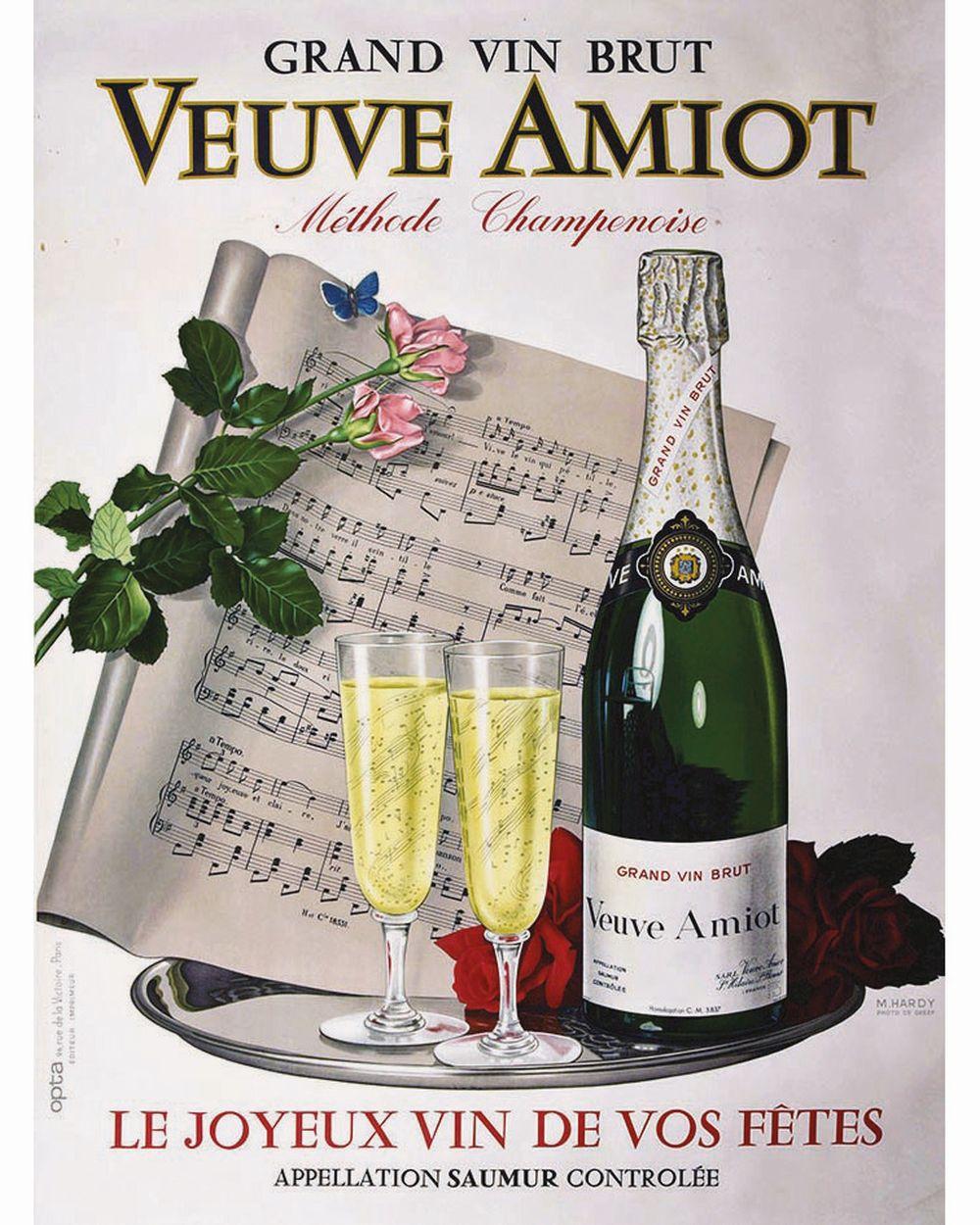 HARDY M. - Grand Vin Brute Veuve Amiot Methode Champenoise     vers 1930  Saumur (Maine et Loire)