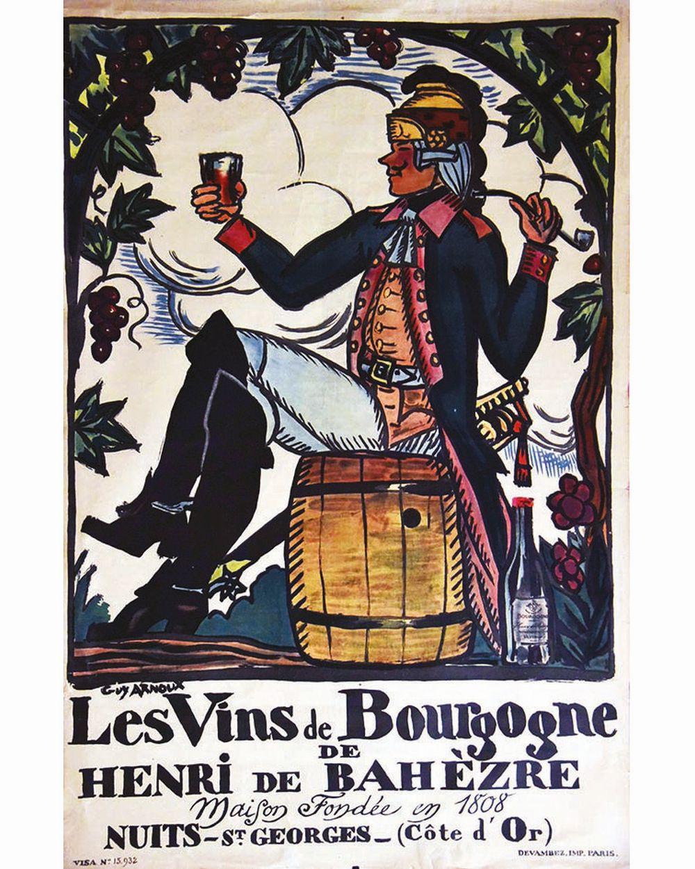ARNOUX GUY - Les vins de Bourgogne de Henri de Bahézre. Maison fondée en 1808     vers 1930  Nuits-Saint-Georges (Côte d'Or)