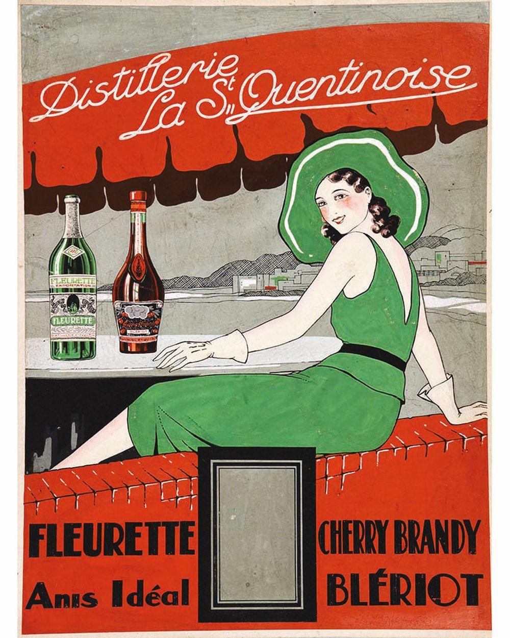 Blériot - Distillerie La St Quentinoise Fleurette -  Anis idéal - Cherry Brandy - Blériot. Gouache     vers 1930