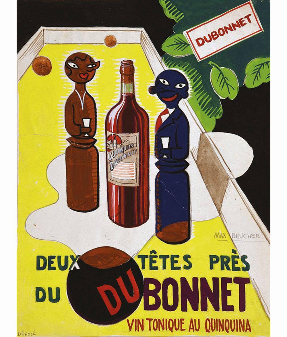 BEUCHER MAX - Dubonnet Deux Tête près Gouache signée de MAX Beucher     vers 1960