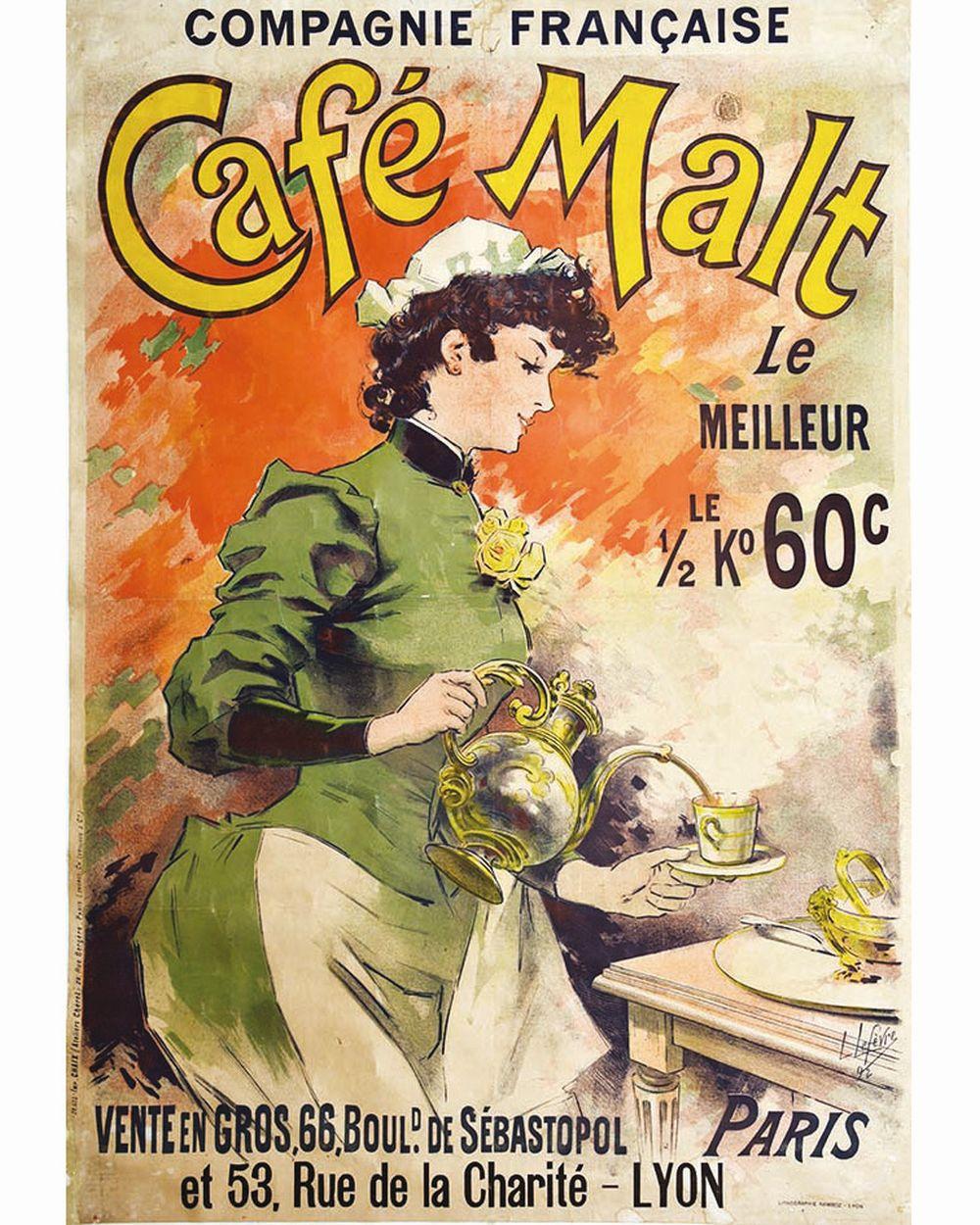 LEFEVRE LUCIEN - Café Malt     1892