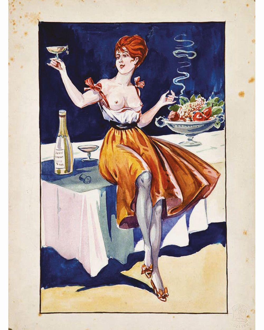 Femme à la Coupe de Champagne  Gouache     vers 1900