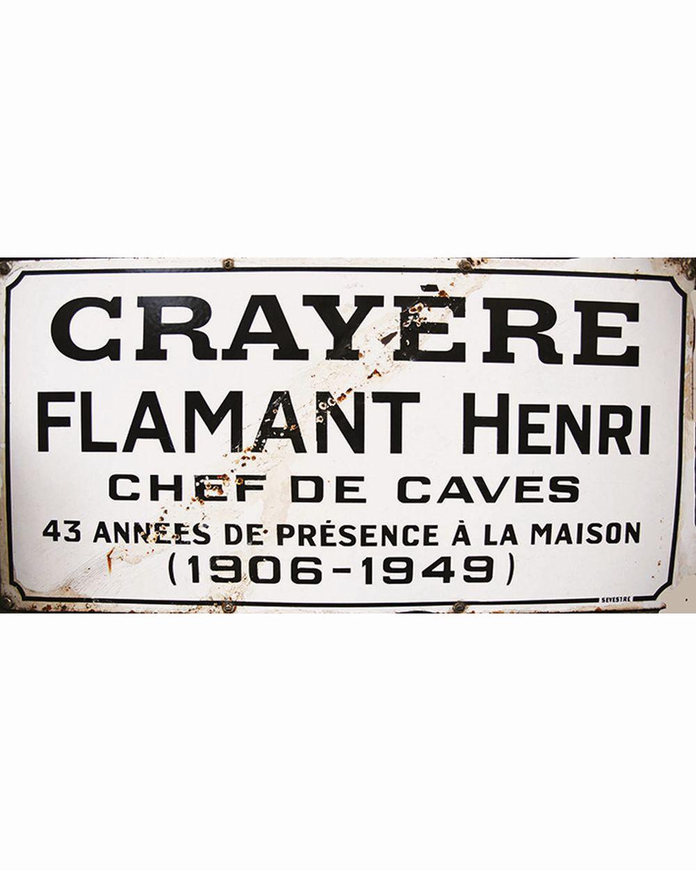 Champagne Ruinart Crayère Flamant Henri Chef de Caves 43 années de Présence à la Maison 1906- 1949 )     1949