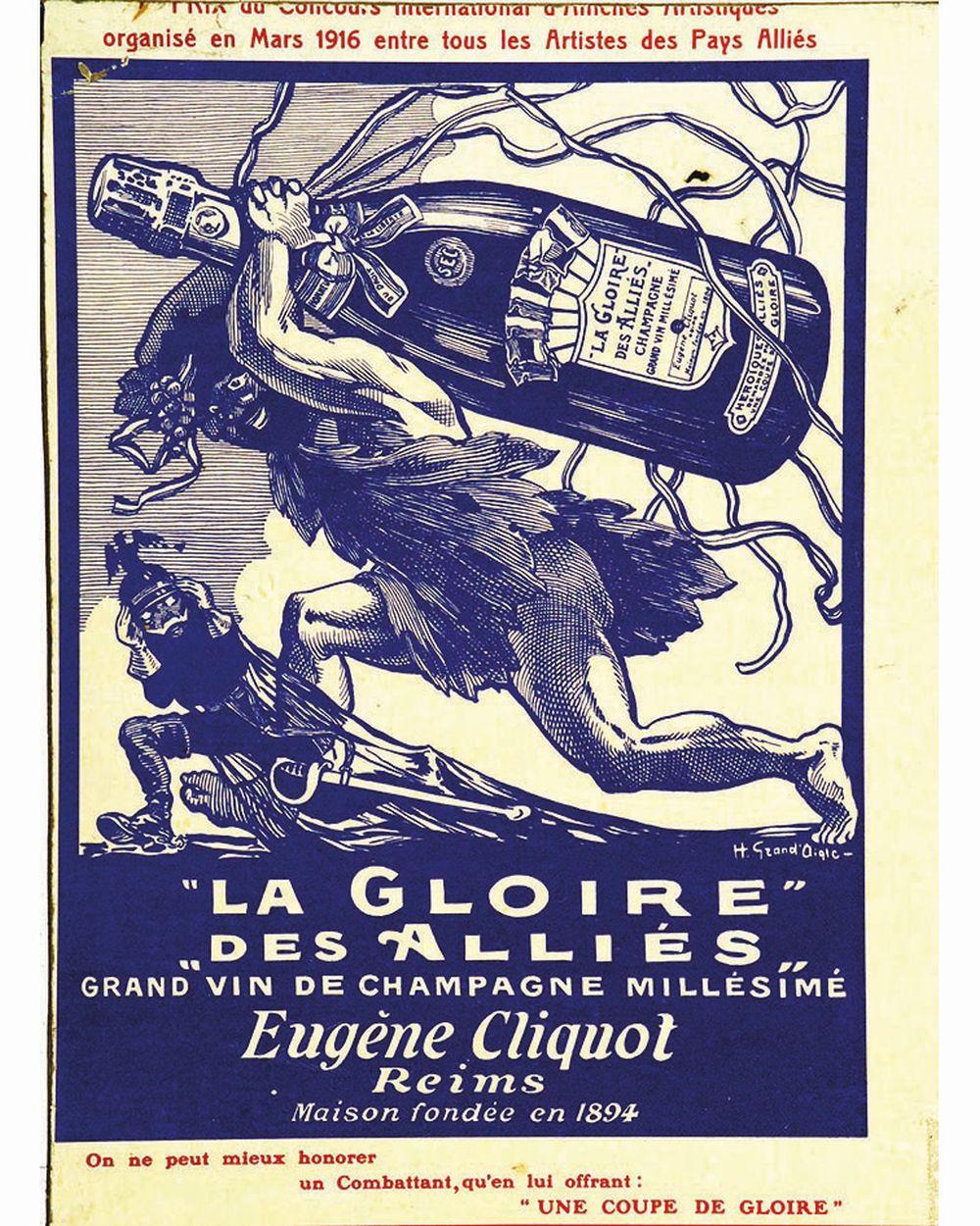 GRAND' AIGLE - Champagne Eugène Cliquot La Gloire des Alliés Grand Vin de Champagne Millésimé Eugène Cliquot     vers 1920  Reims (Marne)