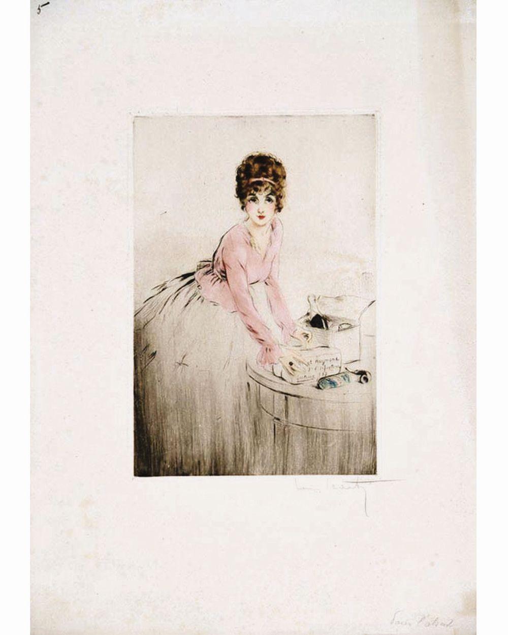 ICART LOUIS - Champagne pour L'Absent  gravure signée de Louis Icart     vers 1917