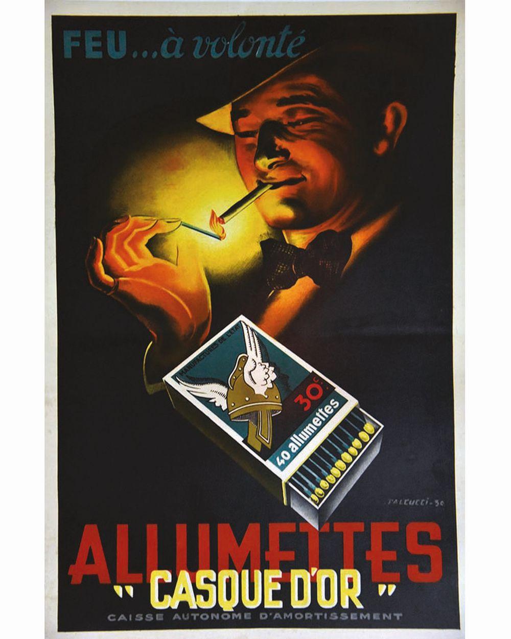 FALCUCCI - Allumettes Casque D'Or     1936