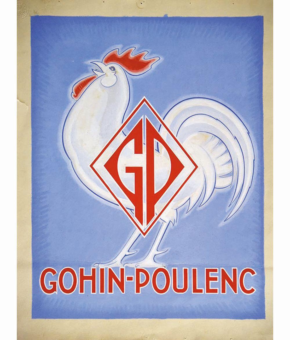 KOW ALEXIS  (non signée) - Gaz Gohin-Poulenc Coq Gouache de Alexis Kow     vers 1950