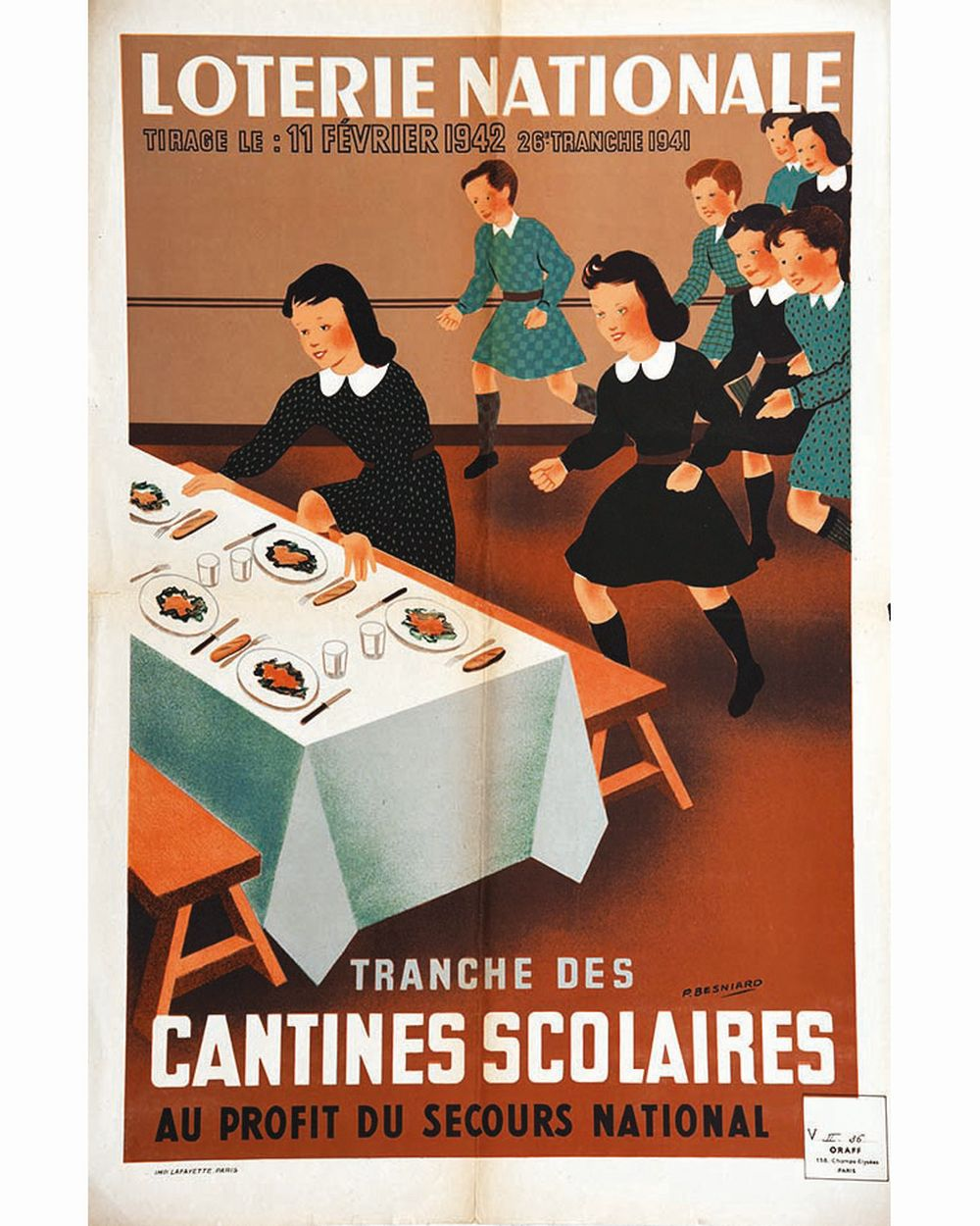 BESNIARD P. - Cantines Scolaires Loterie Nationale     1941