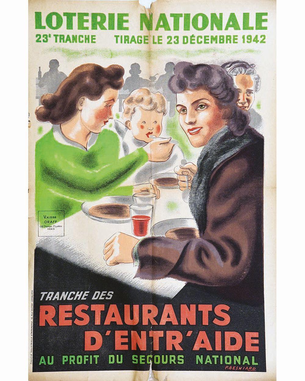 BESNIARD P. - Restaurants d'entr'aide Loterie Nationale     1942