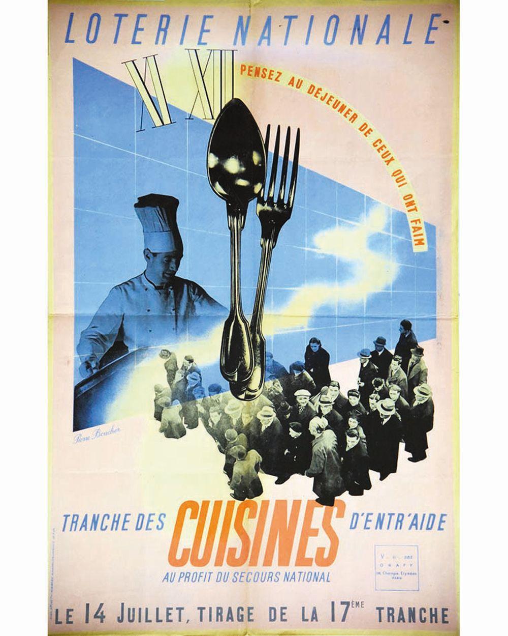 BOUCHER PIERRE - Cuisines d'entraide - Pensez au déjeuner de ceux qui ont faim (Chefs) Loterie Nationale     1943