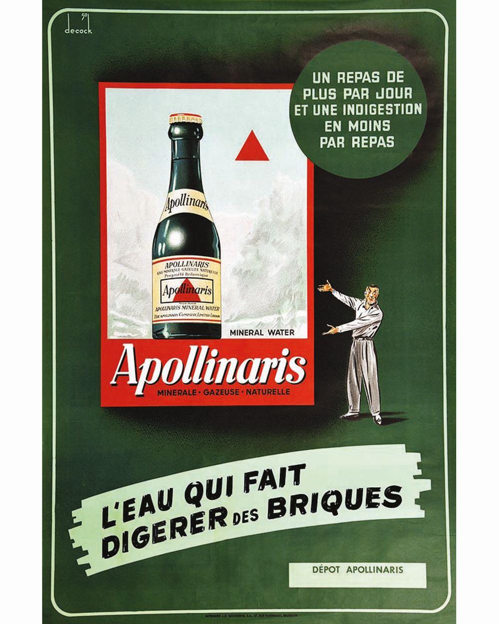 DECOCK - Apollinaris Eau Minérale Gazeuse L'Eau qui fait digerer des Briques     1950