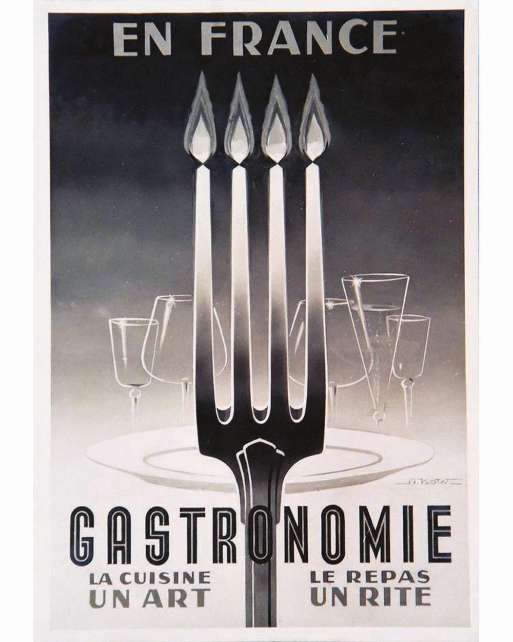 KOW ALEXIS - Gastronomie en France La Cuisine est un Art le Repas un rite gouache signée par Alexis Kow     vers 1950