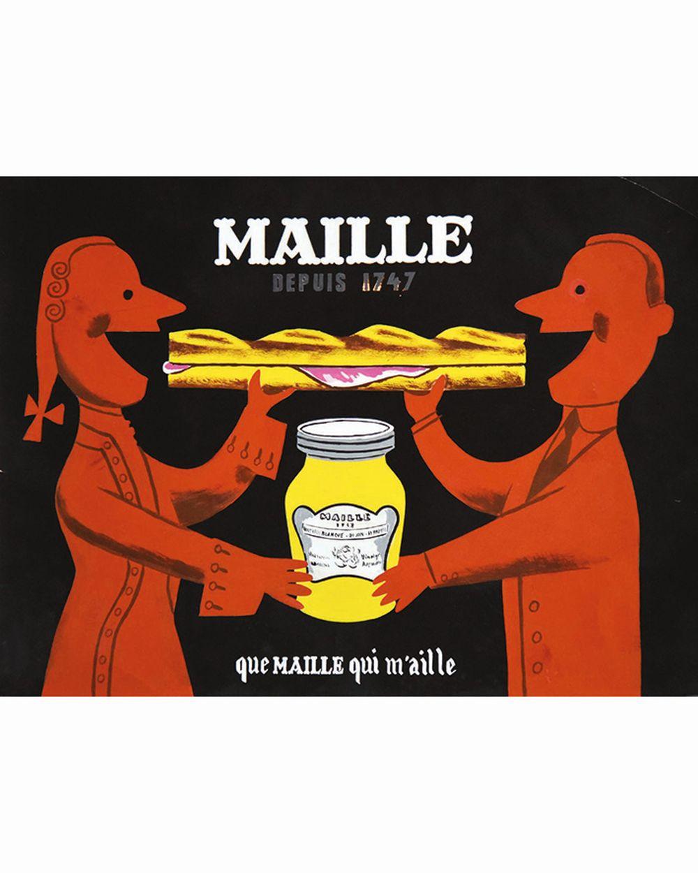 MORVAN HERVE (non signé / unsigned) - Maille depuis 1747 Que Maille qui m'aille. Gouache sur Photo / Gouache on a photograph       Dijon (Côte-d'Or)