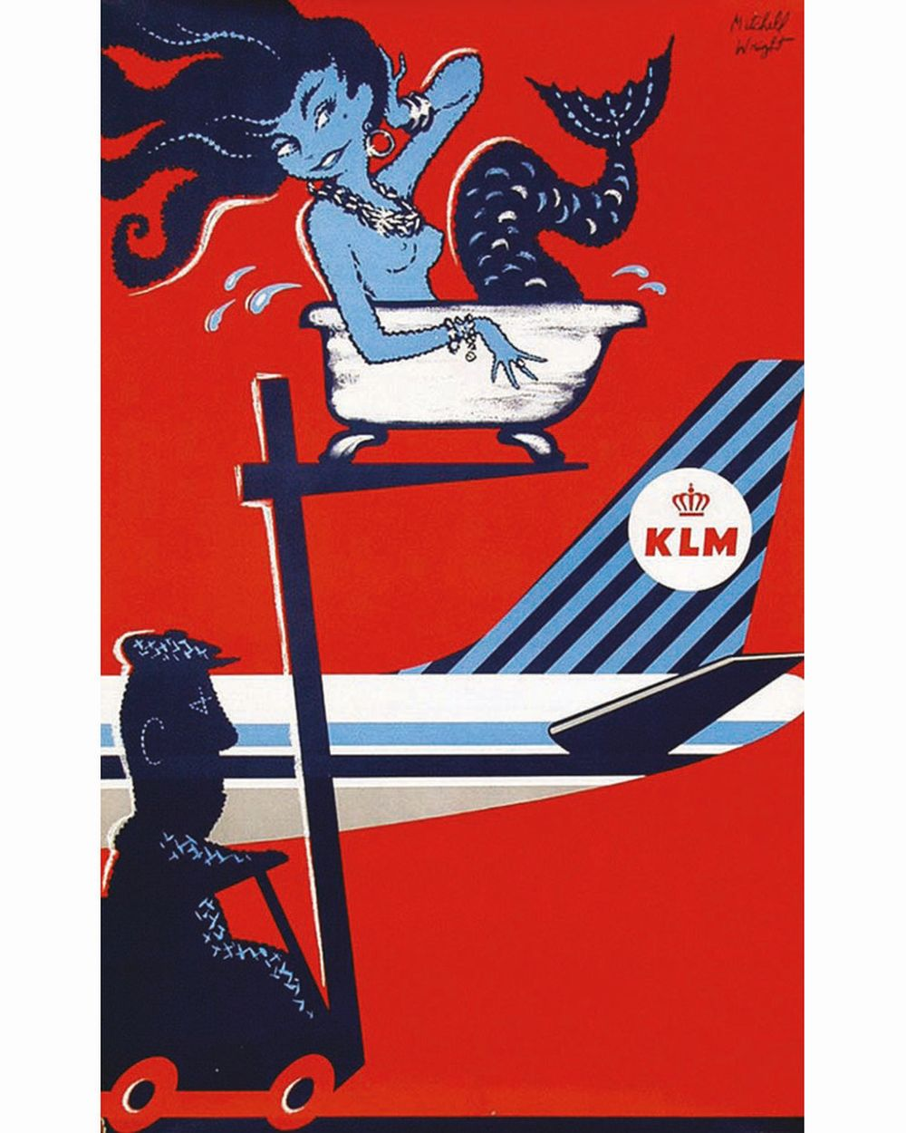 WRIGHT MITCHELL - KLM Royal Dutch Airlines ( affiche rouge )