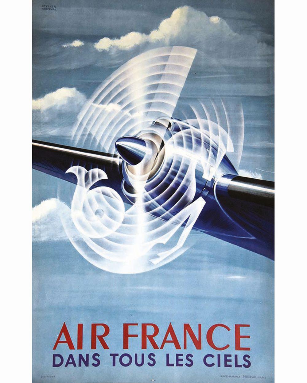 ATELIER PERCEVAL - Dans tous les Ciels Air France     1948