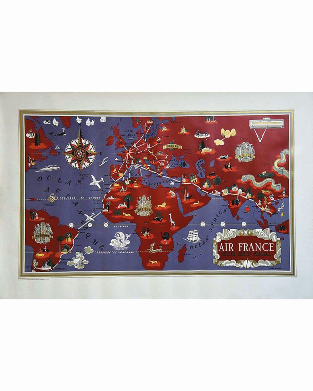 BOUCHER LUCIEN - Air France Planisphére Réseau Aérien Mondial Tirage du Musée Air France     1977