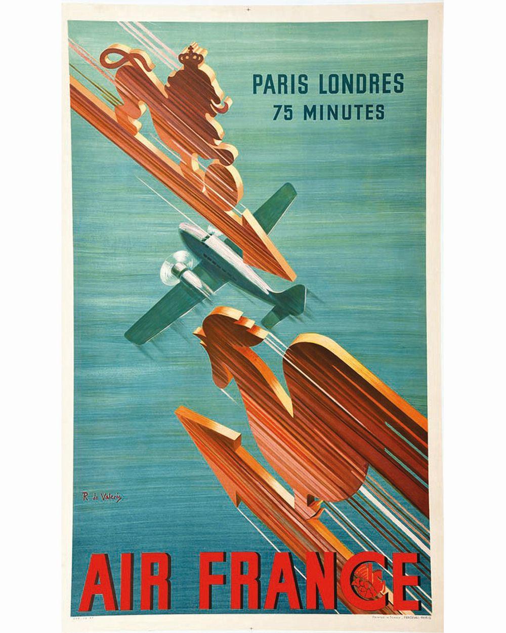 DE VALERIO R. - Paris Londres en 75 Minutes Air France     vers 1930