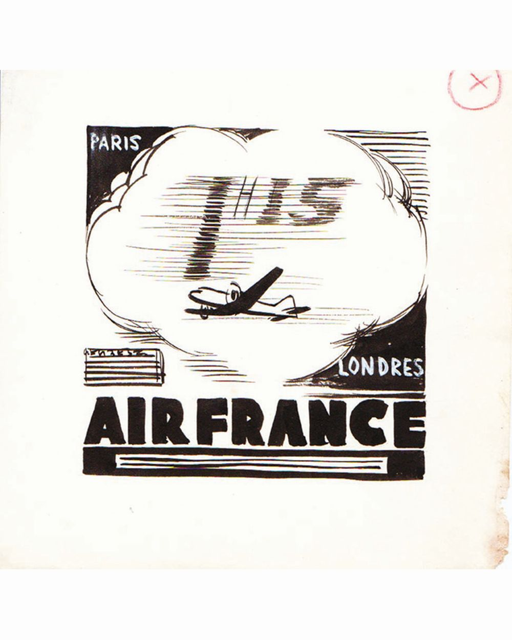 DOOB - Paris Londres 1 h 15 Air France dessin à l'encre de chinedrawing in china ink unic piece     1938
