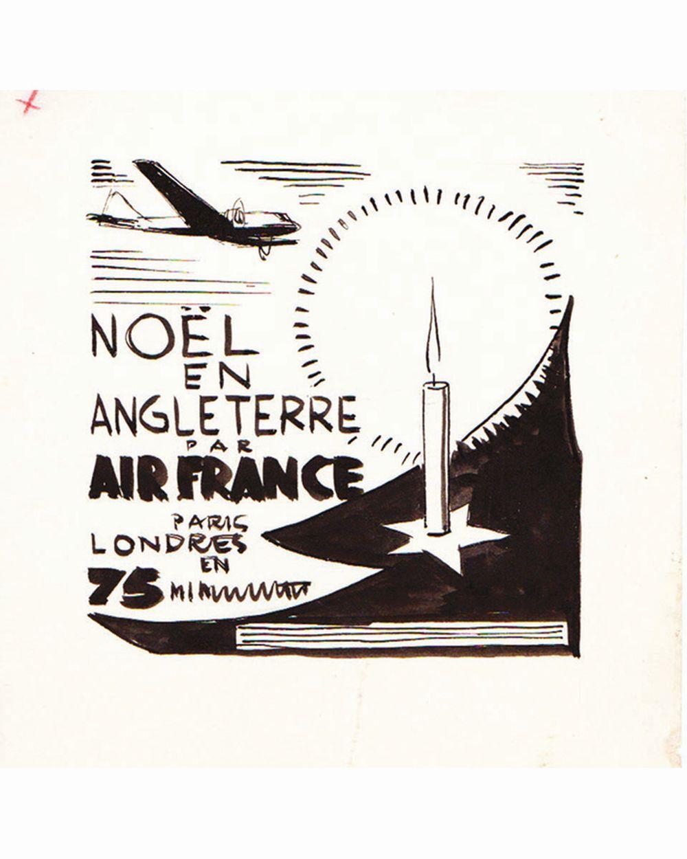 DOOB - 75 mm Paris Londres - Air France dessin à l'encre de chine drawing in china ink unic piece     1938