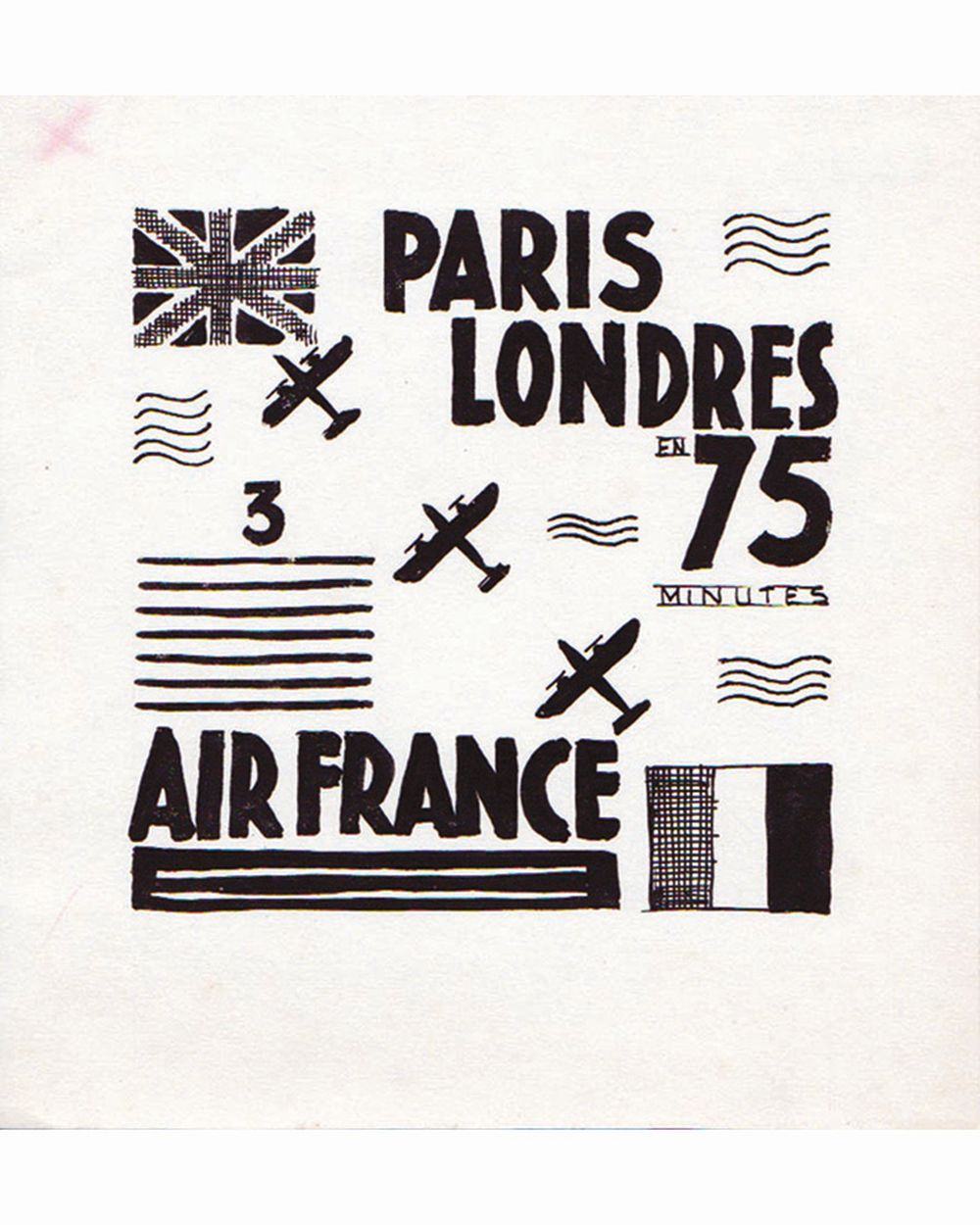 DOOB - Paris à Londres en 75 mn Air France dessin à l'encre de chine drawing in china ink unic piece     1938