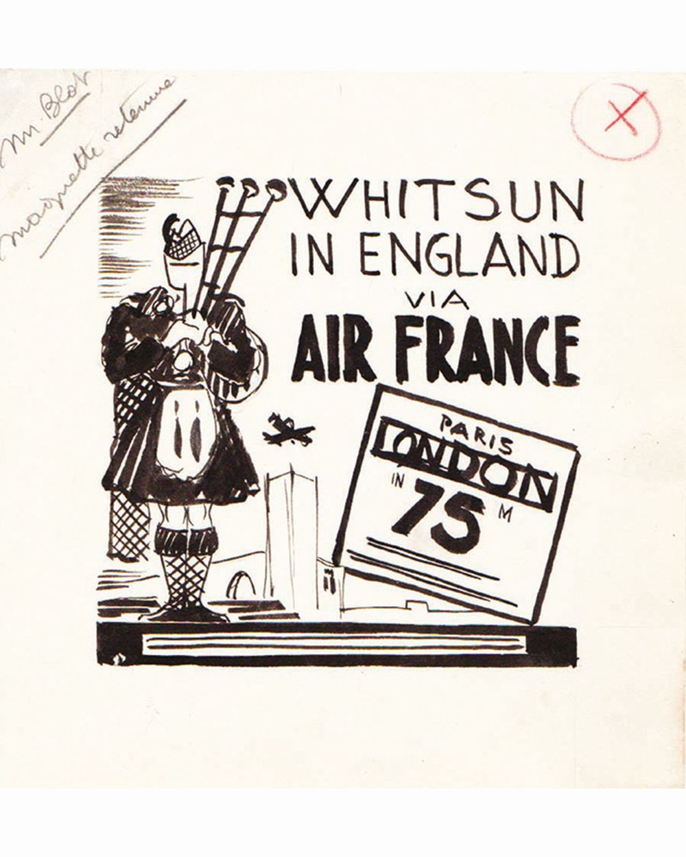DOOB - Whitsun in England Air France dessin à l'encre de chine drawing in china ink unic piece     1938