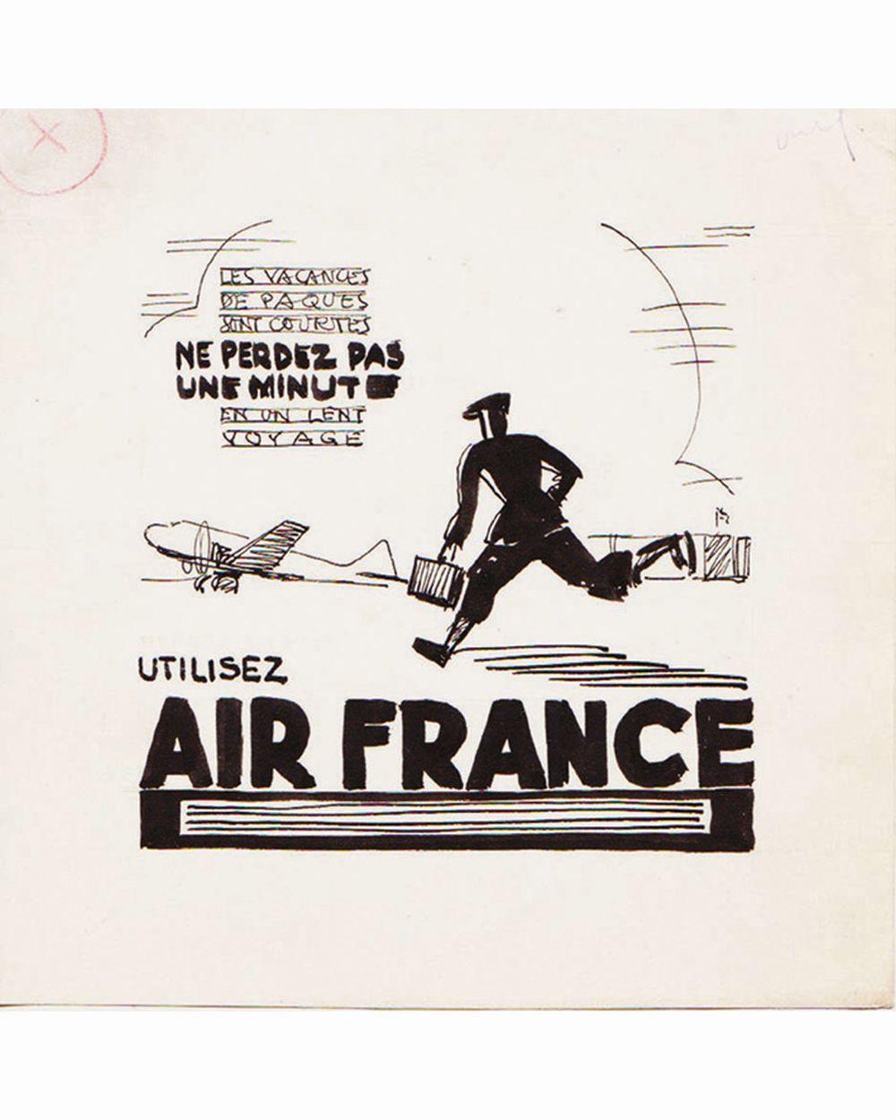DOOB - Les Vacances de Pâques ..Air France dessin à l'encre de chine drawing in china ink unic piece     1938