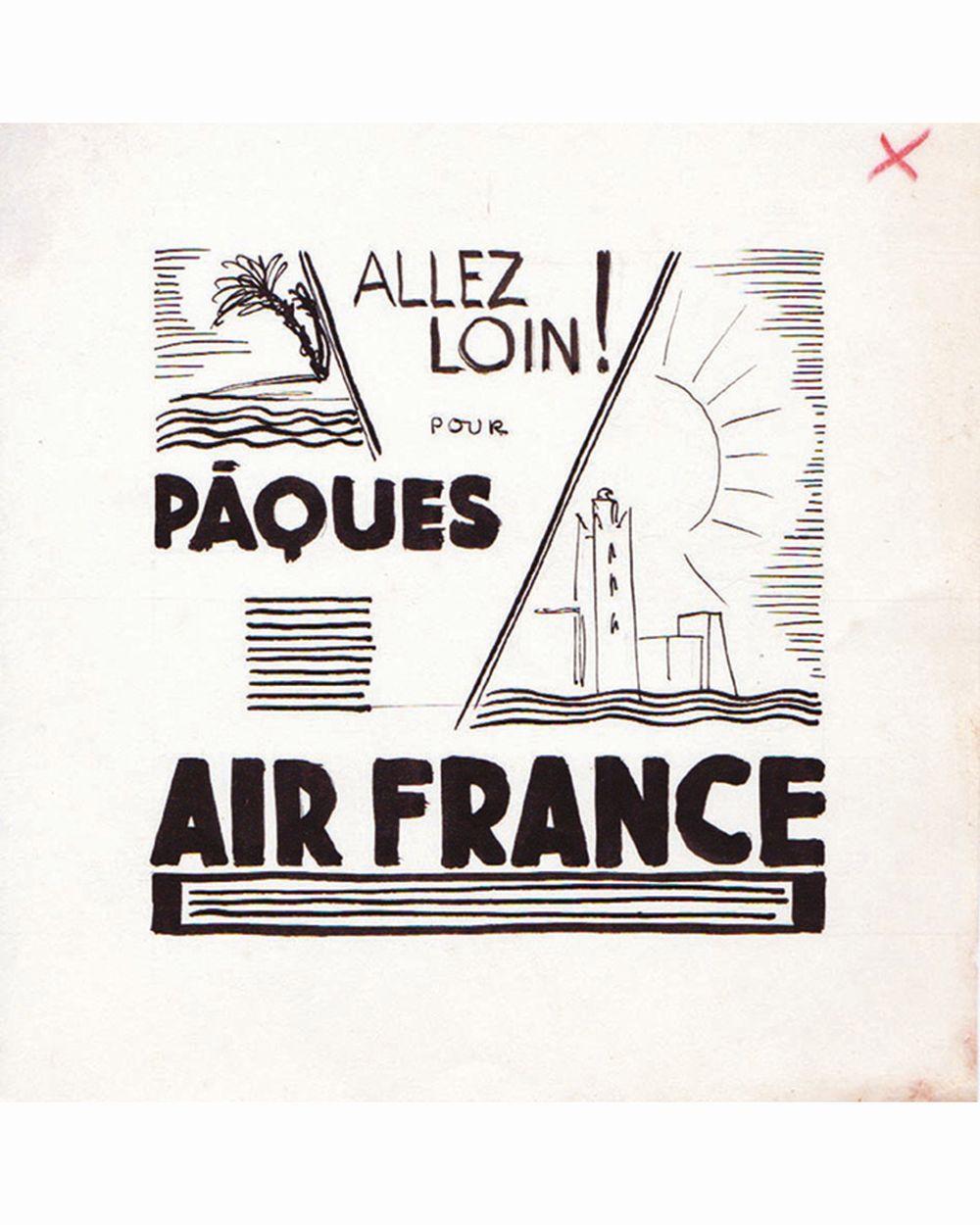 DOOB - Allez plus loin pour Pâques Air France ddessin à l'encre de chine drawing in china ink unic piece     1938