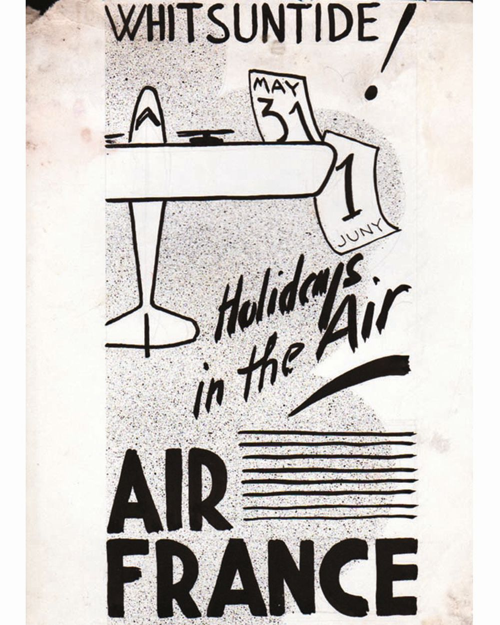 DOOB - Holidays in the Air ..Air France  dessin à l'encre de chine drawing in china ink unic piece     1938