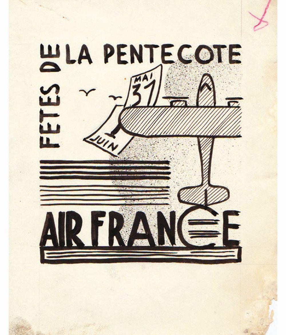 DOOB - Fêtes de Pentecôte Air France dessin à l'encre de chine drawing in china ink unic piece     1938