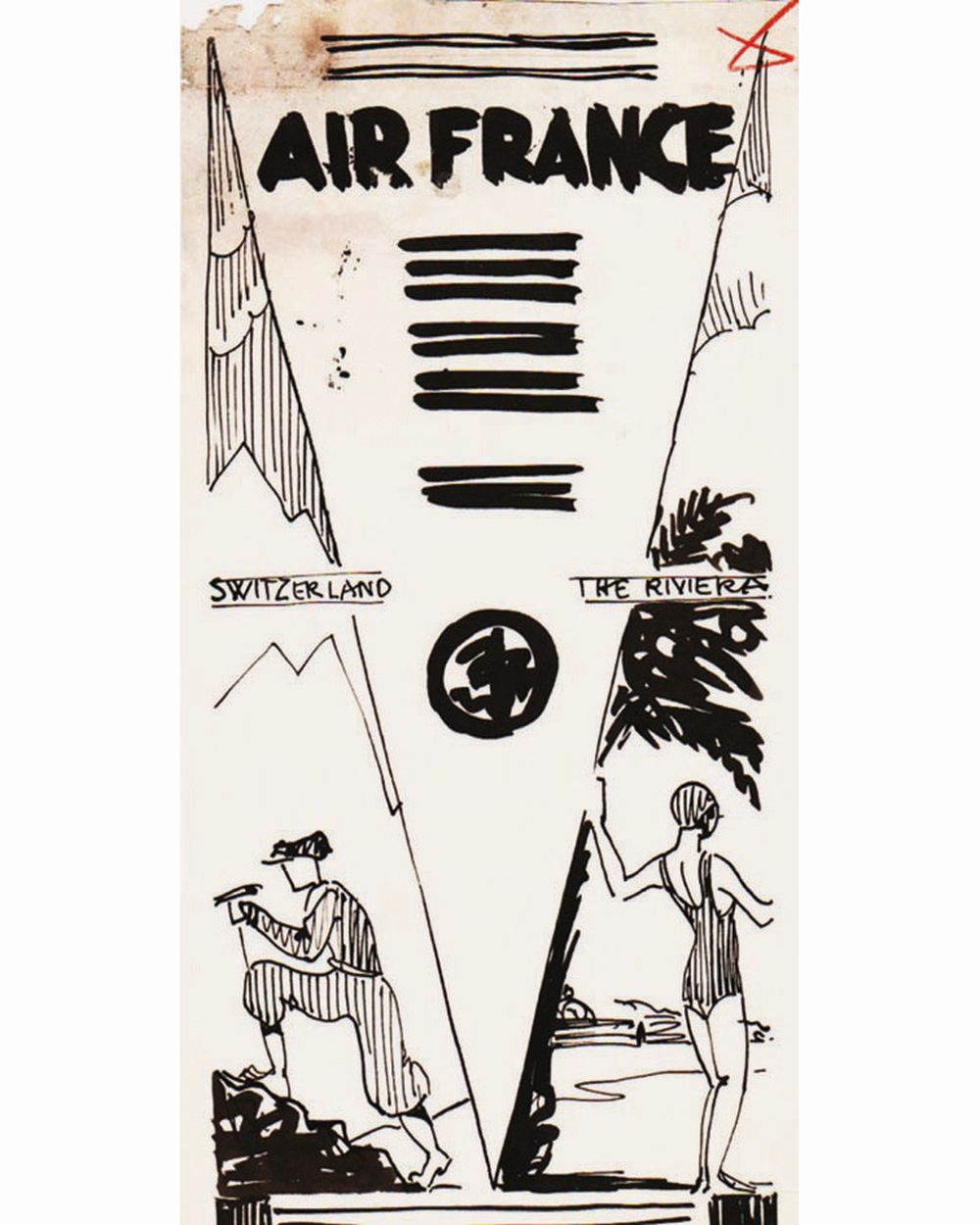 DOOB - Switzerland the Riviera  Air France dessin à l'encre de chine drawing in china ink unic piece     1938