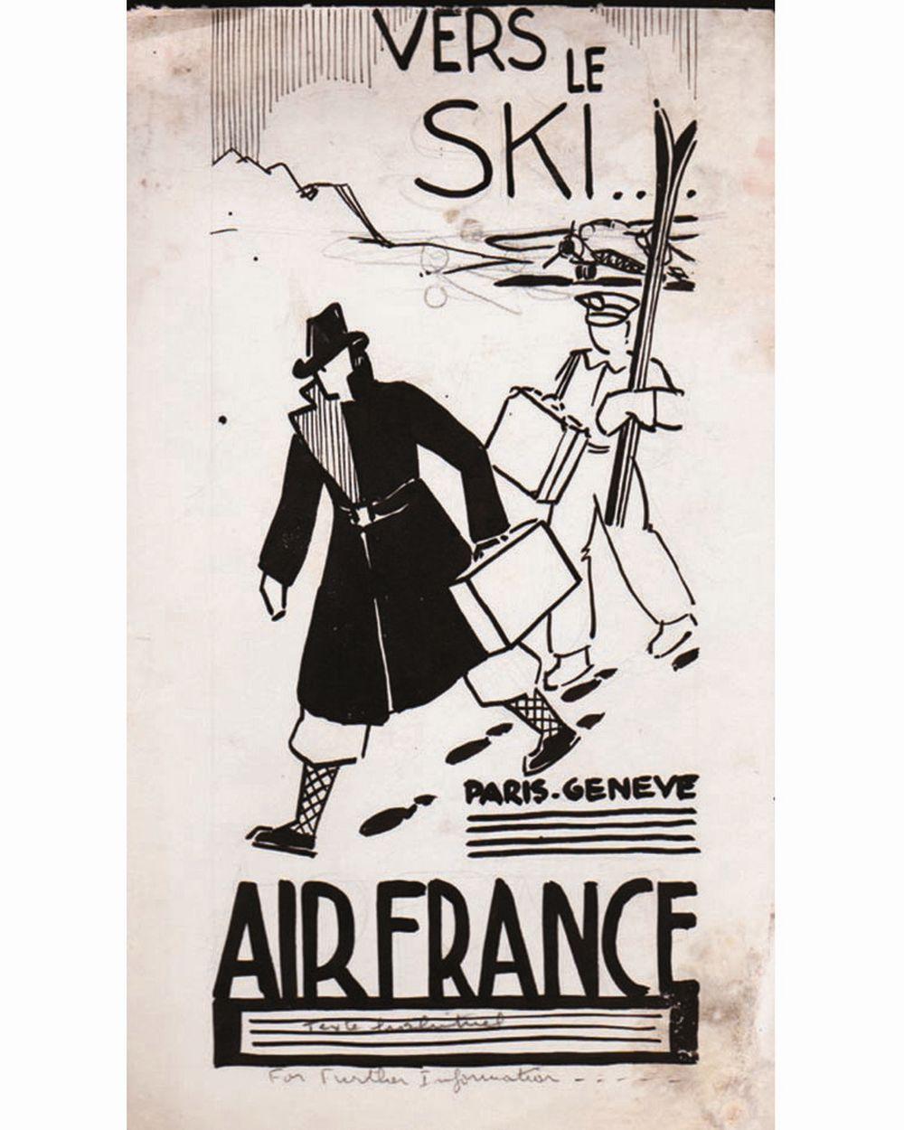 DOOB - Vers le Ski …Paris Genève … Air France dessin à l'encre de chine drawing in china ink unic piece     1938