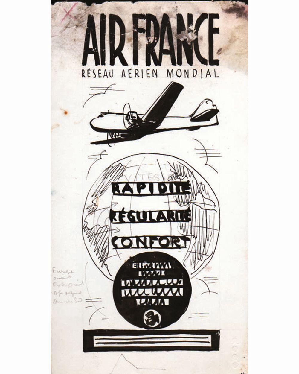 DOOB - Rapidité - Régularité Confort Air Francedessin à l'encre de chine drawing in china ink unic piece     1938