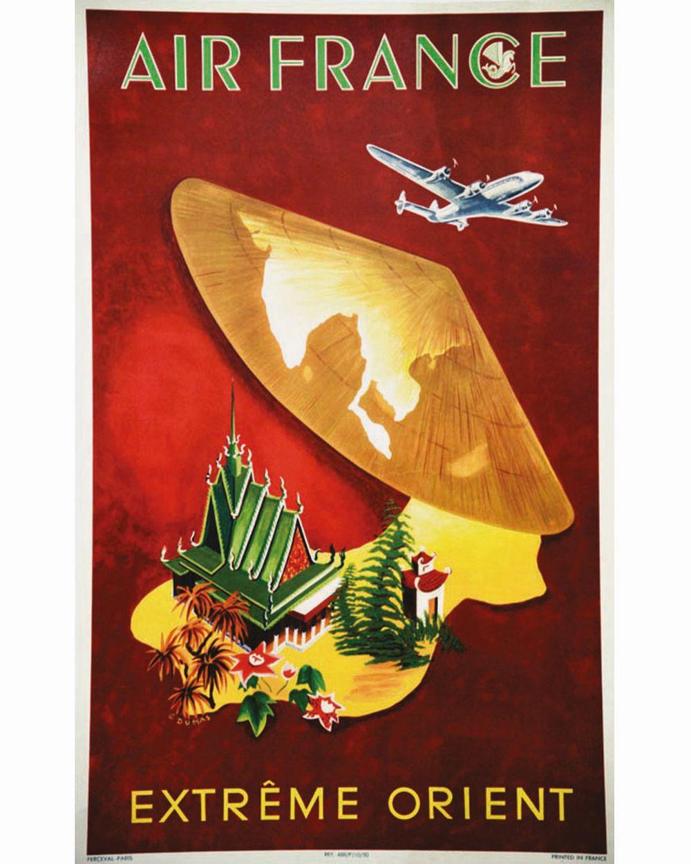 DUMAS G. - Air France Extrème Orient très rare     1950