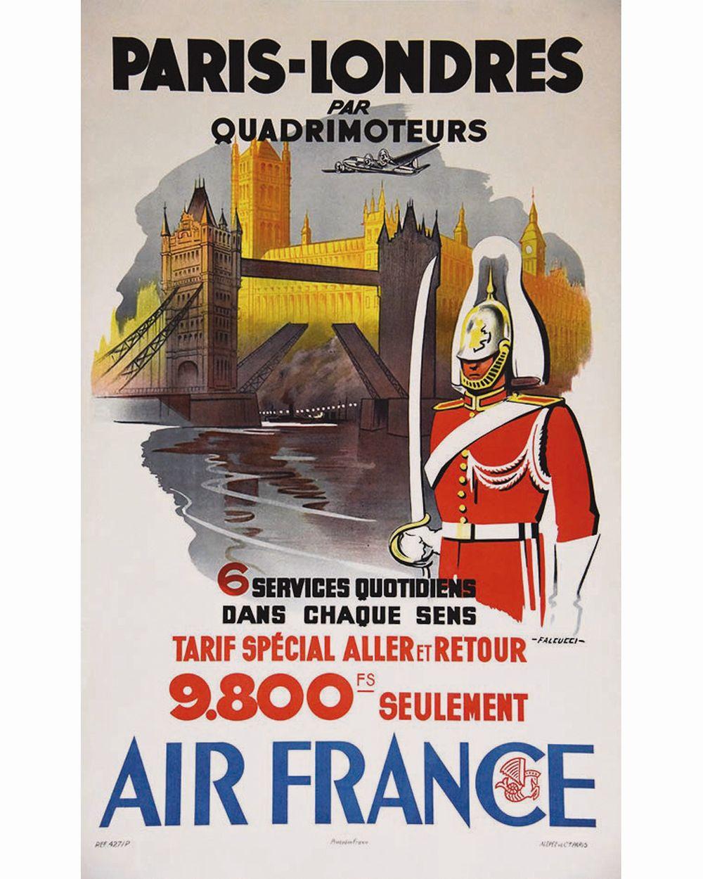 FALCUCCI - Paris Londres par quadrimoteur Air France     vers  1950