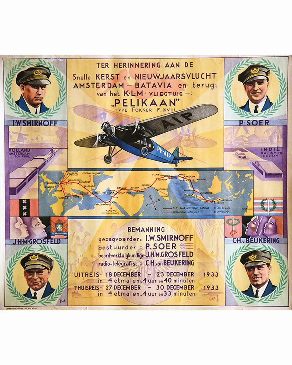 JAAK - Ter herinnering aan de Amsterdam Batavia - Pelikaan type fokker - KLM     1933