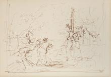 BASTIEN-LEPAGE Jules (1848-1884) Étude pour Jeanne d'Arc au bûcher Dessin à la plume,