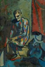 PONCELET Maurice Georges (1879-1978) Arlequin attachant son chausson,