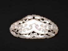 A WHITE JADE OPEN-WORK PENDANT , Qing Dynasty