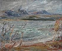 Folke Ricklund 1900-1989. Fjällandskap med sjö.
