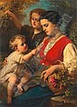 Dubufe, Edouard Louis (Frankrike 1820-1883) Oljemalning. Signerad. Mor och barn . D pa P 112 x 82. Smarre retuscher. (France 1820-1883) Canvas laid on panel. Signed. Mother and child. 112 x 82 cm. Minor retouches., Louis-Edouard Dubufe, Click for value