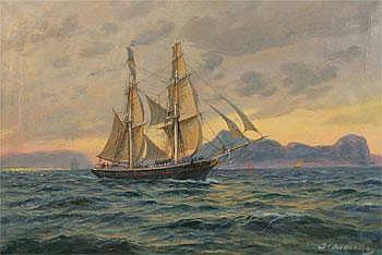 Jens Christian Andresen 1865-1949. Motiv av brigg