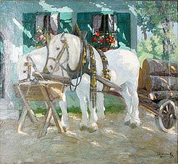 Jakob Koganowsky Ryssland 1874-1926. Hästar vid