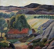 Frans Berg 1892-1949. Landskap med hus. Signerad F