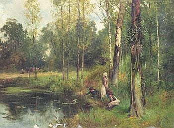 David Bates England ca. 1840-1921. Lekande barn