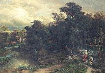 Karl Rodeck Tyskland 1841-1909. . Landskap med