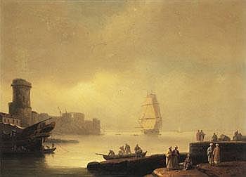 Thomas Luny England 1759-1837. Hamnmotiv med