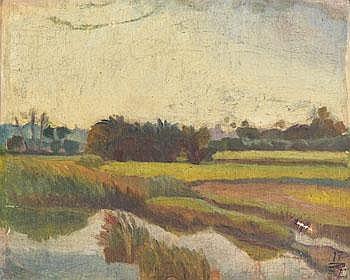 Ivan Aguéli 1869-1917. Landskap. Numrerad 17. Olja