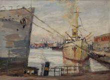 "Gurewitsch, Johannes Boris (1906-1996) ""Port of Hamburg"", oil/painting cardboard, signed lower right, 46x62,5cm (w.f. 51x68cm)"