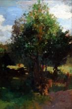 """Herbst, Thomas (1848-1915) """"Tree"""", oil / cardboard, b.r. sign., 56.5x36.5cm, (w.f. 68.5x48.5cm), verso study """"Two Lying Cows"""", verso sign. stamp, slightly stained"""